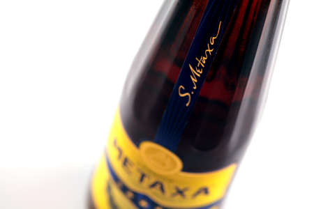 Bucharest, Romania - April 17, 2012: Close-up shot of a bottle of Metaxa. Metaxa is a Greek distilled spirit invented in 1888.