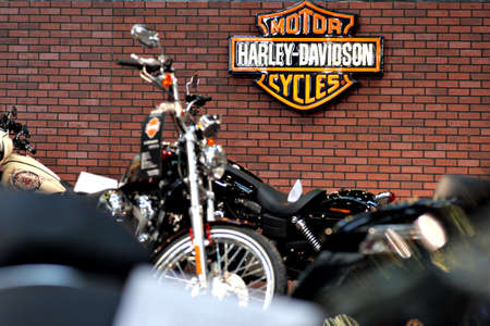 Bucharest, Romania - April 22, 2012: Harley Davidson logo is displayed on a wall during a motorcycle exhibition in Bucharest, Romania. Redakční