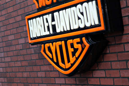 Bucharest, Romania - April 22, 2012: Harley Davidson logo is displayed on a wall in Bucharest, Romania. Harley Davidson is an American motorcycle manufacturer.