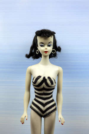 Prague, Czech Republic - July 3, 2012: The first Barbie doll is exhibited at the Toy Museum in Prague, Czech Republic, during an anniversary Barbie doll exhibit. The first Barbie doll was introduced in March 1959 by its creator, Ruth Handler.