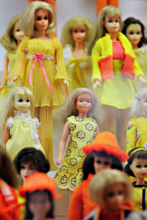 Prague, Czech Republic - July 3, 2012: Barbie dolls are exhibited at the Toy Museum in Prague, Czech Republic, during an anniversary Barbie doll exhibit. The first Barbie doll was introduced in March 1959 by its creator, Ruth Handler.