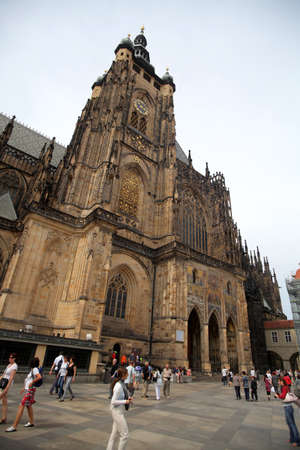Prague, Czech Republic - July 3, 2012: View of the St.Vitus Cathedral in Prague, Czech Republic. The Cathedral is the biggest and most important church in the country and it is located within the Prague Castle.