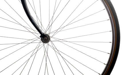 spoke: Close up shot of a bicycle wheel on white background