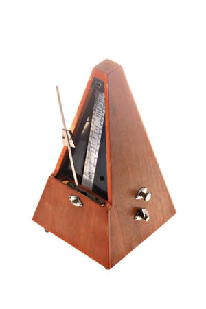 allegro: Vertical shot of a vintage metronome isolated on white Stock Photo