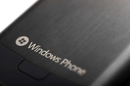 Bucharest, Romania - October 29, 2012: Close up shot of the back of a Windows smartphone. Windows Phone is a family of mobile operating systems developed by Microsoft, first launched in October 2010.