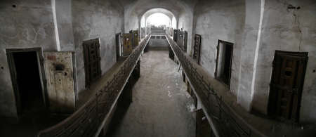 ancient prison: Color panorama of an old abandoned prison Editorial