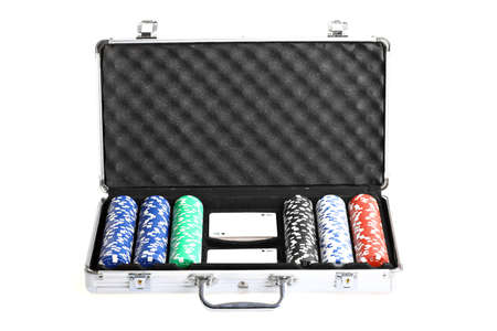 Color shot of an open briefcase containing poker cards and chips Stock Photo - 16527607