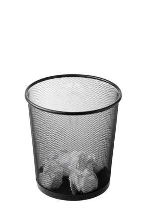 waste paper: Oficina de basura con papel de residuos en el interior Foto de archivo