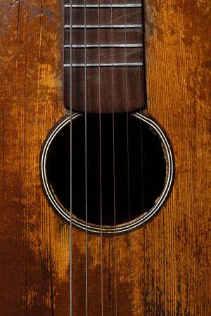 guitarra acustica: Color del detalle de una vieja guitarra, vintage Foto de archivo