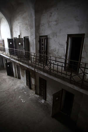 Color picture of an old abandoned prison photo