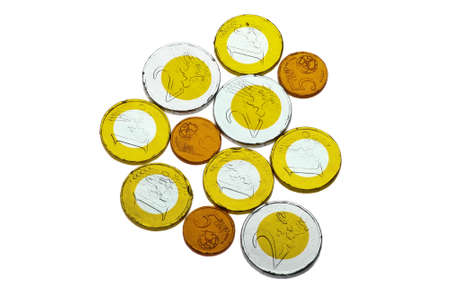 Chocolate sweets imitating various Euro coins, on white Stock Photo - 17462680