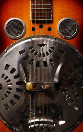 resonator: Color shot of an old vintage guitar