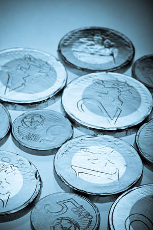 Chocolate sweets imitating various Euro coins  Stock Photo - 17640813