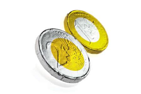 Chocolate sweets imitating various Euro coins, on white. Stock Photo - 18264527