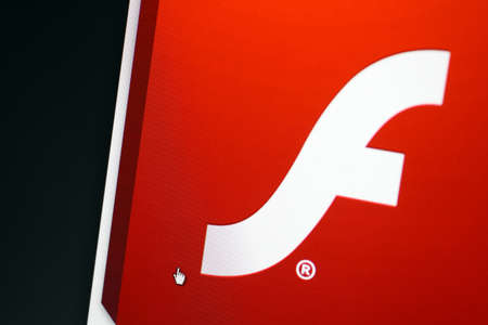 Bucharest, Romania - March 9, 2013: Adobe Flash logo is displayed on a computer screen. Adobe Flash is a multimedia and software platformby Adobe Systems.