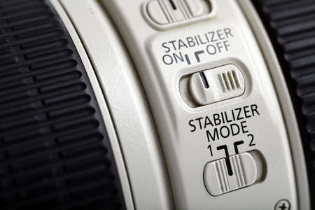 stabilizer: Detail of the stabilizer switch on a long photo lenses