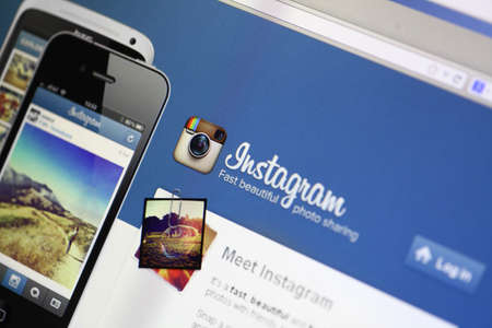 Bucharest, Romania - March 9, 2013: Main page of the Instagram website on a computer screen. Instagram is a photo-sharing service that enables its users to take pictures and share them on social networking services.