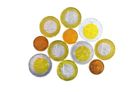 Chocolate sweets imitating various Euro coins, on white  Stock Photo - 18583472