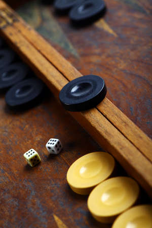 double the chances: Color detail of a Backgammon game with two dice