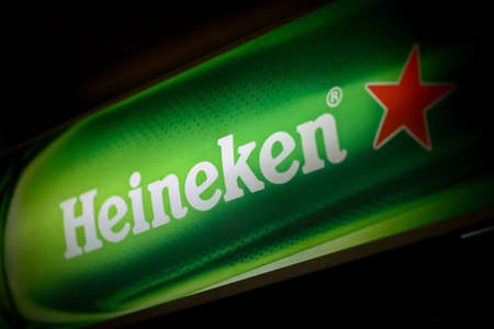 Bucharest, Romania - May 2, 2013: Color shot of a Heineken beer luminous ad. Heineken is a Dutch beer brewed by Heineken International. Stock Photo - 19639536