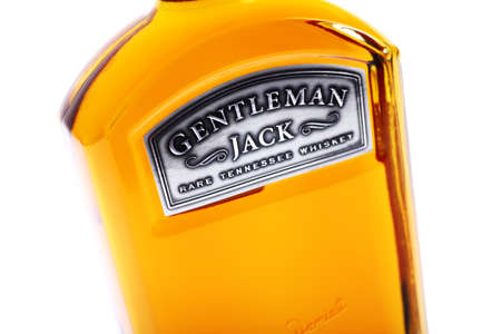 daniels: Bucharest, Romania - May 29, 2013: Close-up shot of a one liter bottle of Genlteman Jack whiskey. Gentleman Jack is a brand of Tennessee whiskey produced by the Jack Daniels Distillery.