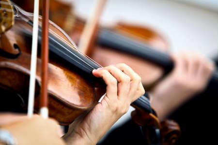 바이올린의 세부 사항은 음악가에 의해 재생되는 스톡 콘텐츠