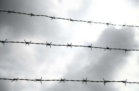 Some lines of barbed wire against a cloudy sky photo