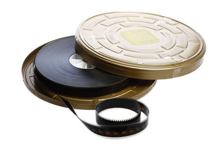 cinematic: A black film case reel isolated on white Stock Photo