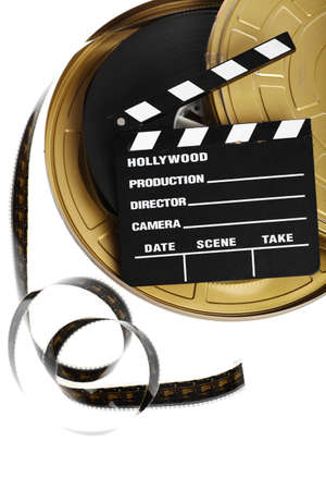 A black film case reel and a cinema clap isolated on white photo
