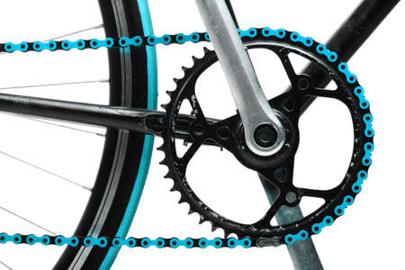 Color detail on a blue chain from a bicycle photo
