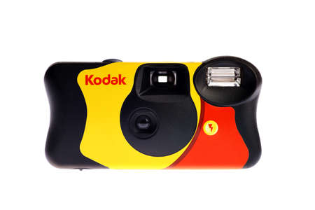kodak: Bucharest, Romania - July 23, 2013: Picture of some disposable Kodak compact cameras. The one-time-use camera was pioneered by Kodak, an American multinational imaging and photographic equipment, materials and services company.