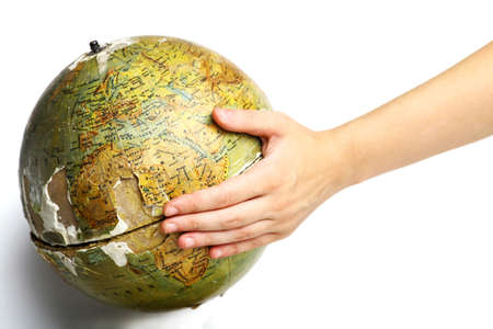 One hand holding a broken globe, illustration for a damaged planet Stock Illustration - 21762550