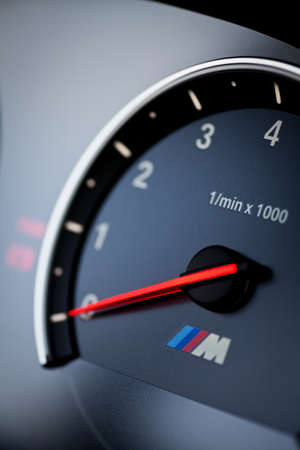 Bucharest, Romania - August 4, 2013: Color shot with the tachometer of a BMW M6 car. The BMW M6 is a high-performance version of the BMW 6-Series, developed by BMW's motorsport division, BMW M.