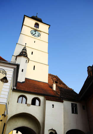 Color shot of the Clock Tower in Sibiu, Romania photo