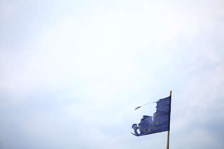 A broken flag of the European Union photo