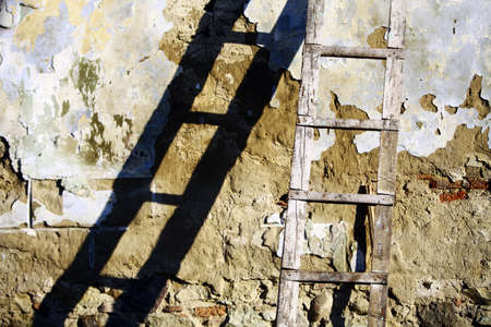 Color shot of a used wooden ladder with its shadow photo