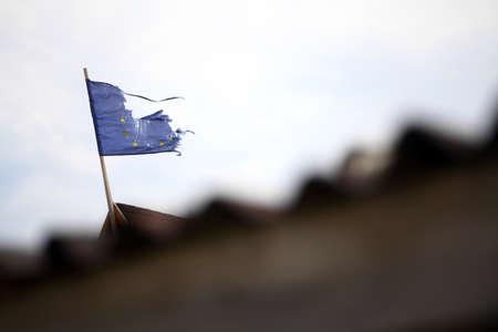 broken unity: A broken flag of the European Union Stock Photo