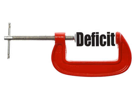 deficit: The word Deficit is compressed with a vice. Business metaphor.