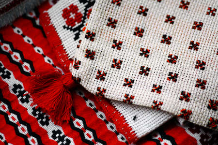 Close up color shot of a traditional Romanian weaved cloth Stock Photo