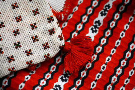 Close up color shot of a traditional Romanian weaved cloth photo