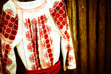 Close up color shot of a traditional Romanian blouse photo