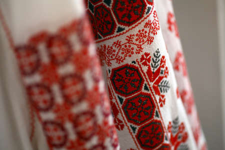 Close up color shot of a traditional Romanian blouse