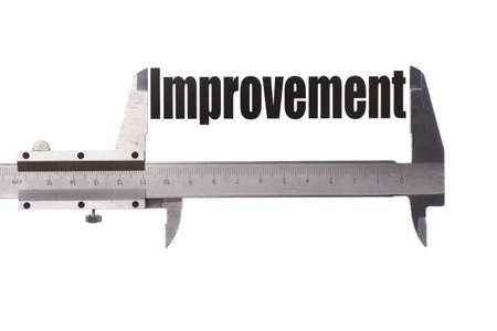 Shot of a caliper, measuring the word Improvement. photo