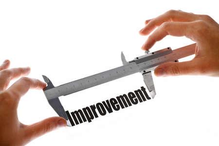 Shot of a caliper, measuring the word Improvement. photo