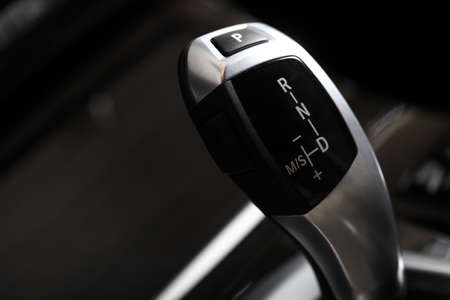 Detail on a automatic gear shifter in a new car photo