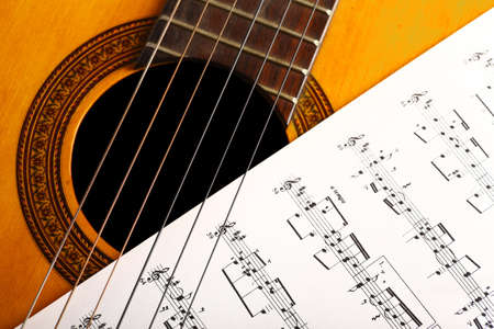 A classical guitar and a music sheet.
