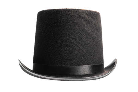 stovepipe hat: A vintage top hat isolated on white.