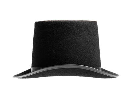 stovepipe: A vintage top hat isolated on white.