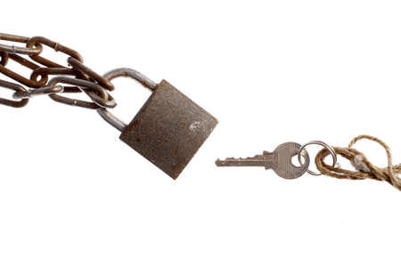 unbreakable: A padlock and a key, isolated on white.