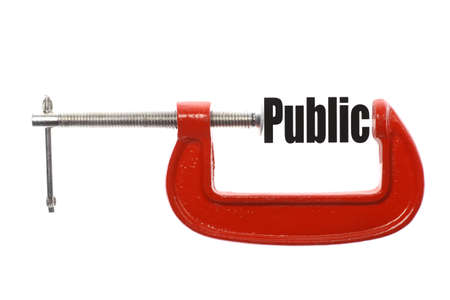 The word Public is compressed with a vice. Business metaphor.